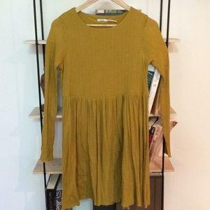 soft mustard yellow long sleeve babydoll dress